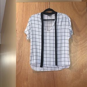 White blouse with black stripes
